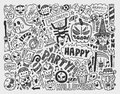 Doodle halloween holiday background cartoon illustration Stock Photography