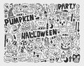 Doodle halloween holiday background cartoon vector illustration Royalty Free Stock Photos