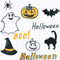 Doodle halloween seamless background childish Stock Images