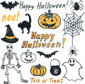 Doodle halloween set childish felt tip pen Royalty Free Stock Photo