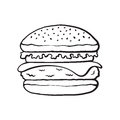 Doodle of hamburger with cheese, tomato and salad