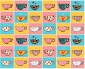 Doodle hand drawing coffee cups in different designs on colour vintage background pattern seamless