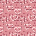 Doodle hand drawing seamless pattern on pink background . Words, phrases of love in Spanish, hearts, arrows, flowers, squiggles