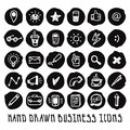 Doodle hand drawn black business icons vector set