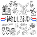 Doodle hand drawn collection of Holland icons. Netherlands culture elements for design. Vector illustration with travel objects. Royalty Free Stock Photo