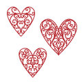 Doodle hand drawn filigree valentine hearts