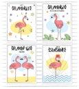 Doodle hand drawn rose pink flamingo card set