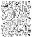 Doodle hand drawn sketch, set of happy birthday design elements. Fruit, cake, balloons, holiday decorations.
