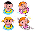 Doodle happy swimming kids set Royalty Free Stock Photo