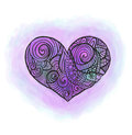 Doodle heart with watercolor imitation