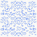Doodle hearts Stock Photos
