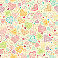 Doodle hearts seamless pattern background vector with many hand drawn heart shapes perfect for valentine s day design Stock Image