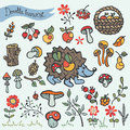 Doodle hedgehog,berries,mushrooms,wood,flowers Royalty Free Stock Photo