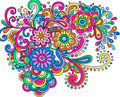 Doodle Henna Abstract Flowers and Swirls Vector Stock Image