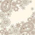Doodle Henna Abstract Paisley and Flowers Stock Photography