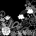 Doodle Henna Dove and Flowers Vector Royalty Free Stock Images
