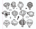 Doodle hot air balloon icon cartoon illustration Royalty Free Stock Image