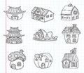 Doodle house icon cartoon illustration Royalty Free Stock Photography