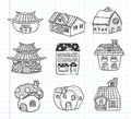 Doodle house icon cartoon vector illustration Royalty Free Stock Photos