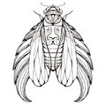 Doodle illustration of cicadas with wings and boho pattern Royalty Free Stock Photo