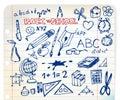 Doodle ilustracj szkolny set Zdjęcia Stock