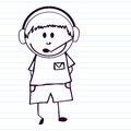 Doodle kid with headset Royalty Free Stock Photography