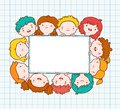 Doodle kids blank frame template vector illustration Stock Photo