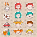 Doodle kids faces icons stickers vector illustration Royalty Free Stock Photos