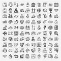 Doodle logistics icons set cartoon vector illustration Royalty Free Stock Photo