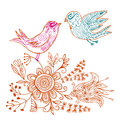 Doodle love birds in floral environment Royalty Free Stock Photo
