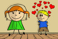 Doodle love children s hand drawn boy in with a girl with skipping rope Stock Image