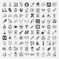 Doodle medical icons set cartoon vector illustration Stock Photos