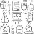Doodle Of Medical Object Set