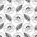 Doodle monochrome poppies feathers seamless pattern background texture vector