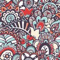 Doodle monochrome print.  Seamless floral background. Royalty Free Stock Photo