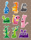 Doodle monster stickers Stock Photography
