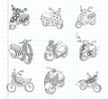 Doodle motorcycle icons cartoon vector illustration Royalty Free Stock Photos