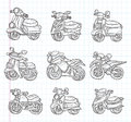 Doodle motorcycle icons cartoon vector illustration Royalty Free Stock Photo
