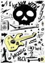 Doodle music heavy metal background Royalty Free Stock Photos