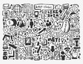 Doodle network element cartoon vector illustration Royalty Free Stock Photo