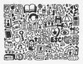 Doodle network element cartoon vector illustration Royalty Free Stock Images