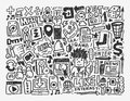 Doodle network element cartoon vector illustration Stock Photo