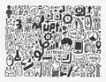 Doodle network element cartoon vector illustration Stock Photos