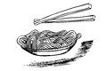 Doodle Noodle at bowl and stick Royalty Free Stock Photo