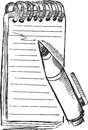 Doodle notepad pen vector sketch illustration art Royalty Free Stock Image