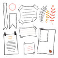 Doodle notepaper. Hand drawn messages sticky notes vector set Royalty Free Stock Photo