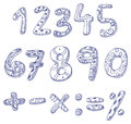 Doodle numbers and math signs Royalty Free Stock Photo