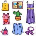 Doodle Of Object Women Fashion