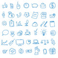 Doodle office, business icons set,