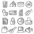 Doodle: Office  icons set Stock Photo